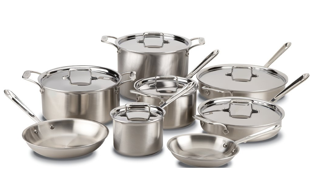 All-Clad d5 Stainless Steel 14-Piece Cookware Set, Silver