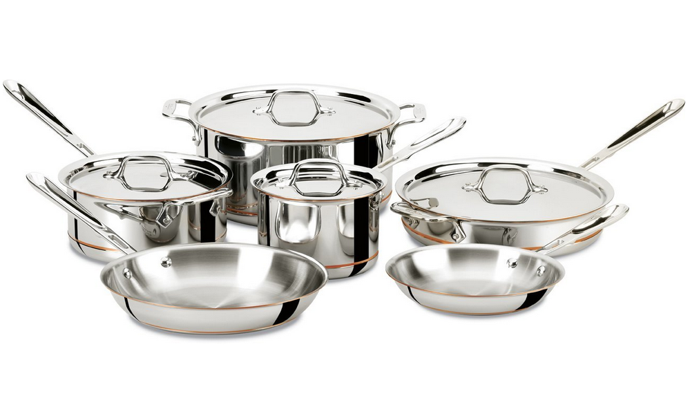 all clad copper core cookware 10 piece set