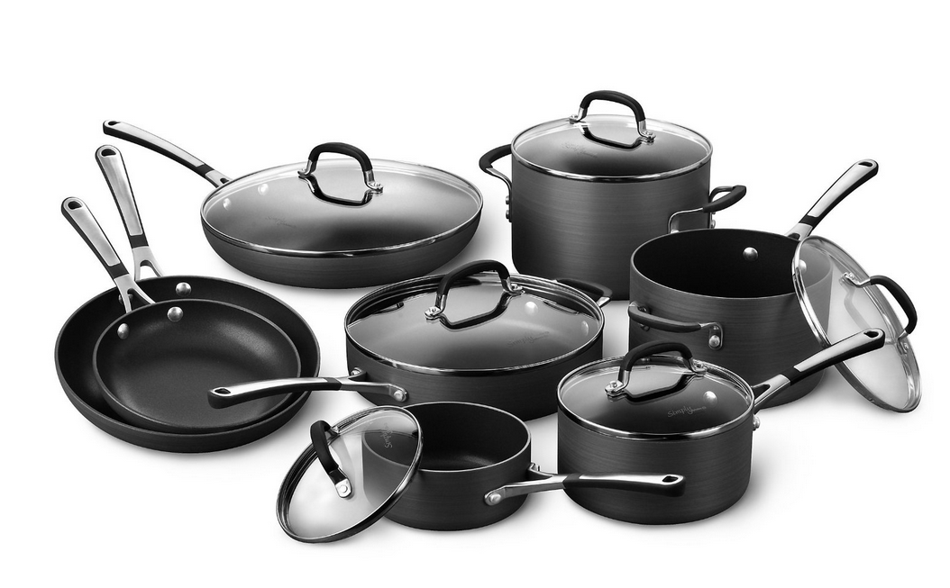 The Calphalon Premier Space-Saving Hard Anodized Nonstick Cookware is designed for stacking and nesting in any order to save 30% more space. The 3-layer nonstick interior can withstand any utensil material and allows for easy food removal and plating.