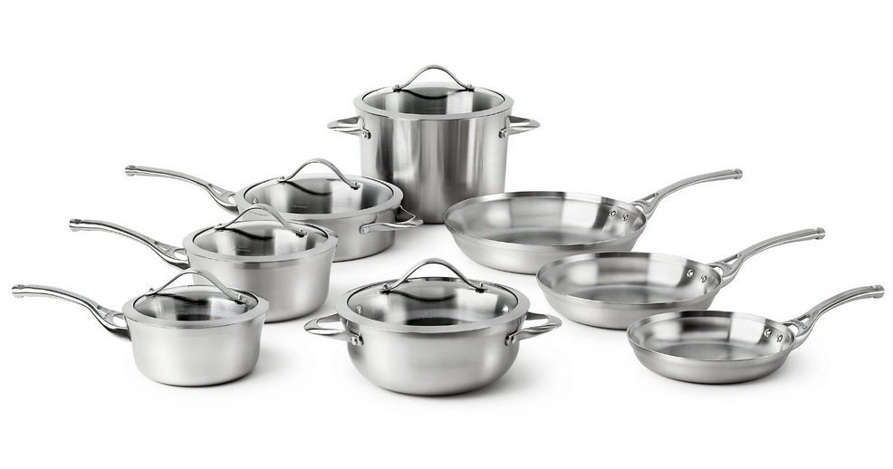 calphalon contemporary cookware 13 piece stainless steel cookware set